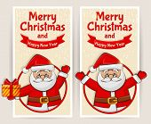 Christmas Banners With Santa Claus. Vector Set.