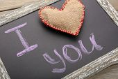 I love you written on chalkboard, close-up