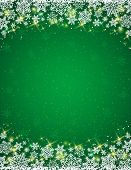 Green Background With  Frame Of Snowflakes,  Vector