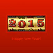 Happy New Year 2015 card - slot machine. Vector.
