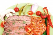 beef slices on plate isolated over white