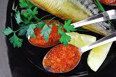 golden smoked herring and fresh red caviar