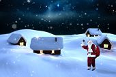 Santa claus ringing bell against starry sky over fir trees