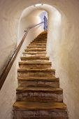 Stairs in Castle Kufstein (Austria) - architecture and travel background