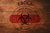 Ebola virus alert against overhead of wooden planks