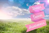 Breast cancer awareness message against sunny landscape
