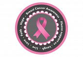 Breast cancer awareness message in pink on white background