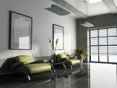 office interior with two green armchairs 3D rendering