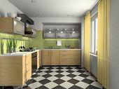 Interior of modern kitchen 3D rendering