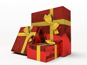 Red gift boxes on white background 3D rendering