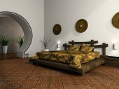 Luxurious bedroom in ethnic style 3D rendering