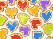 Multicoloured heart cookies for valentine isolated on white background 3D
