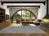 View on the modern living-room with big window 3D rendering