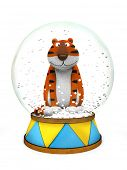 Tiger in the snow globe - symbol of New Year