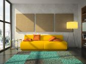 View on the comfortable living-room 3D rendering