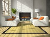 Interior of the modern living-room with fireplace 3D rendering