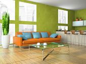 Part of the modern living-room in green colour 3D rendering
