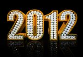 Modern 2012 year isolated on the black background 3D rendering