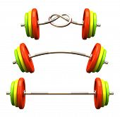 Multicolored barbells in different position 3D rendering