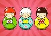 Three matryoshka dolls