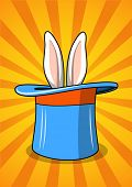 Blue top hat with rabbit ears