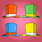 Four colored hats