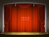 Empty stage with red curtain in expectation of performance EPS 10