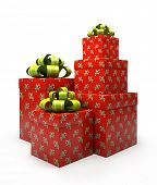 Pattern gift boxes isolated on white backgroung illustration