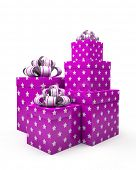 Violet gift boxes isolated on white backgroung illustration