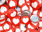 Buttons with white hearts isolated on background 3D rendering