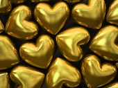 Gold hearts isolated on background 3D rendering