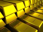 Rows of gold bars illustration