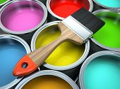 Banks of multicolored paint and brush illustration