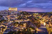 Toledo, Spain town skyline on the Tagus River.