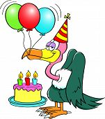 stock photo of buzzard  - Cartoon illustration of a buzzard wearing a party hat with a birthday cake and balloons - JPG