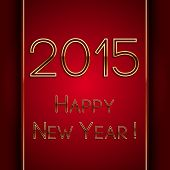 Vector rectangle red greeting new year 2015 postcard with golden letters