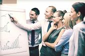 business and office concept - smiling business team with charts on flip board having discussion