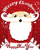 Jolly Santa Claus Wishing a Merry Christmas and Happy New Year - Red and white Christmas greeting card, hand drawn vector illustration