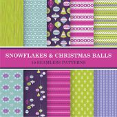 10 Seamless Patterns - Snowflakes and Christmas Balls - Texture for wallpaper, background, scrapbook - in vector