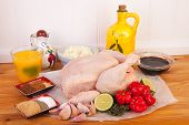 stock photo of jerks  - jerk chicken cooking ingredients on the woooden table - JPG