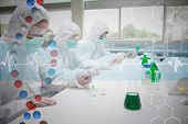 Three chemists working in protective suits against dna helix in blue and red with ecg line