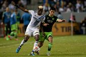CARSON, CA - OCT 19: Gyasi Zardes & Gonzalo Pineda (R) during the Los Angeles Galaxy MLS game against the Seattle Sounders on October 19th 2014 at the StubHub Center.