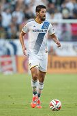 CARSON, CA - OCT 19: Omar Gonzalez in action during the Los Angeles Galaxy MLS game against the Seattle Sounders on October 19th 2014 at the StubHub Center.