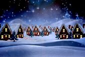 image of fir  - Cute christmas village against snowy landscape with fir trees - JPG