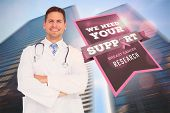 Doctor with breast cancer awareness message for awareness month