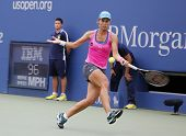 Professional tennis player Varvara Lepchenko during fourth round match at US Open 2014