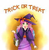 Pretty Witch Of Halloween In Japanese Manga Style With Text, Create By Vector