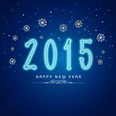 Happy New Year 2015 celebrations greeting card design with stylish text on snowflakes decorated blue background.