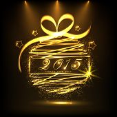 Happy New Year 2015 celebrations greeting card design with golden ball on brown background.