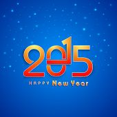Happy New Year 2015 celebrations greeting card design with stylish text on stars decorated blue background.